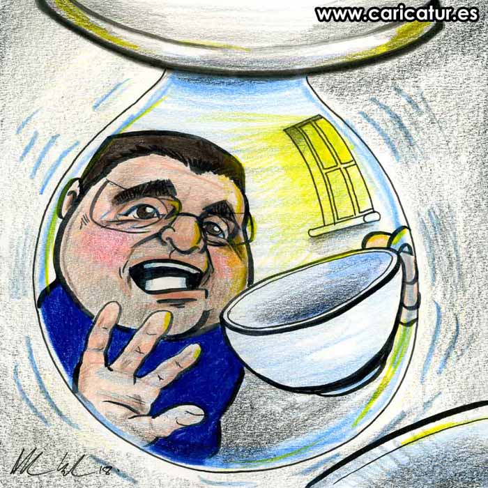 Cartoon of man reflected in a drop of water in a tap