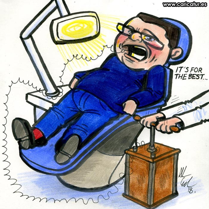 Cartoon drawing of man in dentist chair getting an extraction with dynamite
