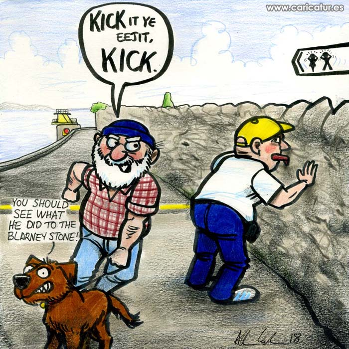 Kicking the Prom Wall Salthill Galway Cartoon