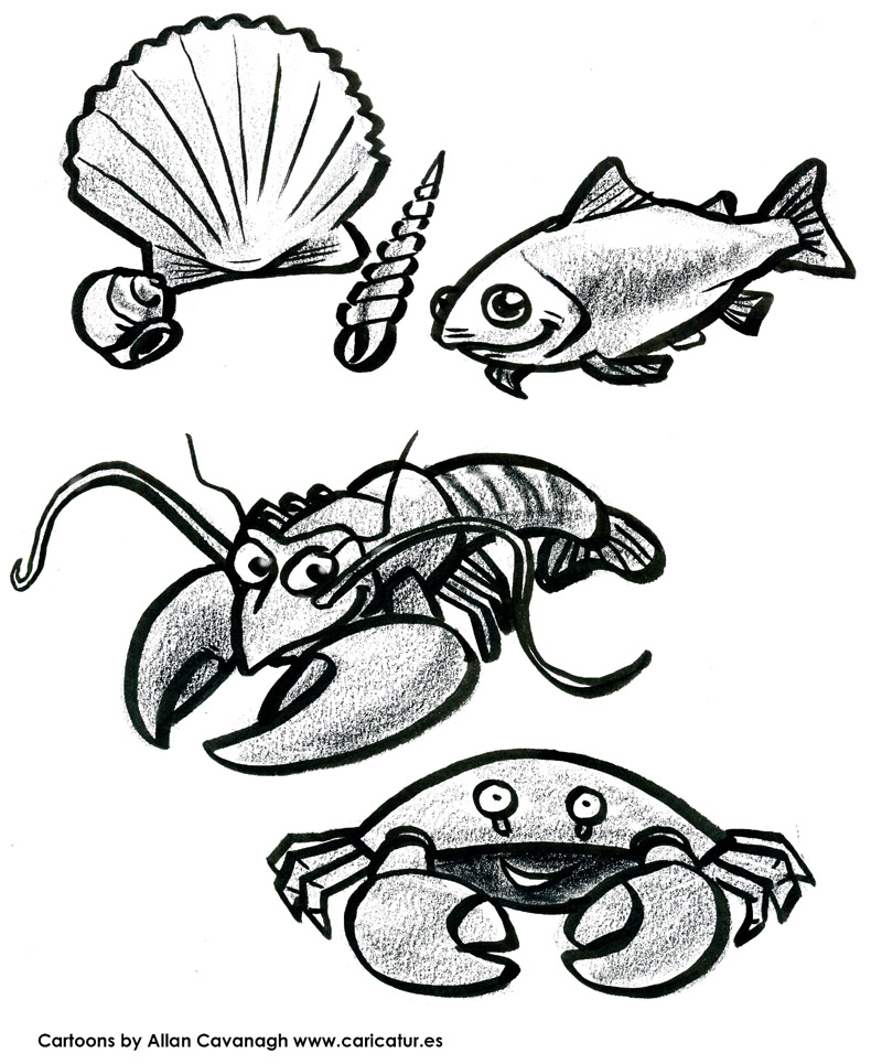 image regarding Printable Fish Pictures referred to as Printable Fish, Crab, Lobster, Scallop Totally free Colouring-Inside Site