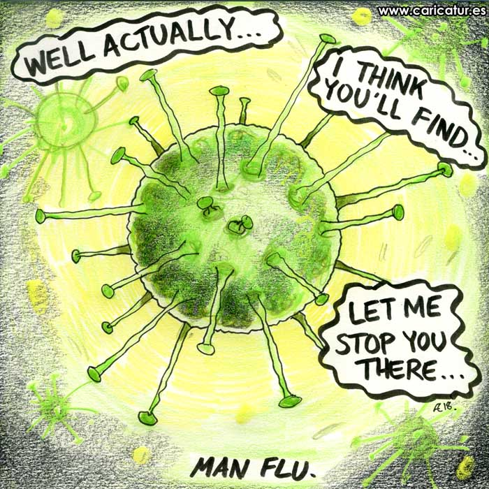man flu cartoon mansplaining cartoon