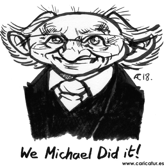 Michael D Higgins caricature 700px