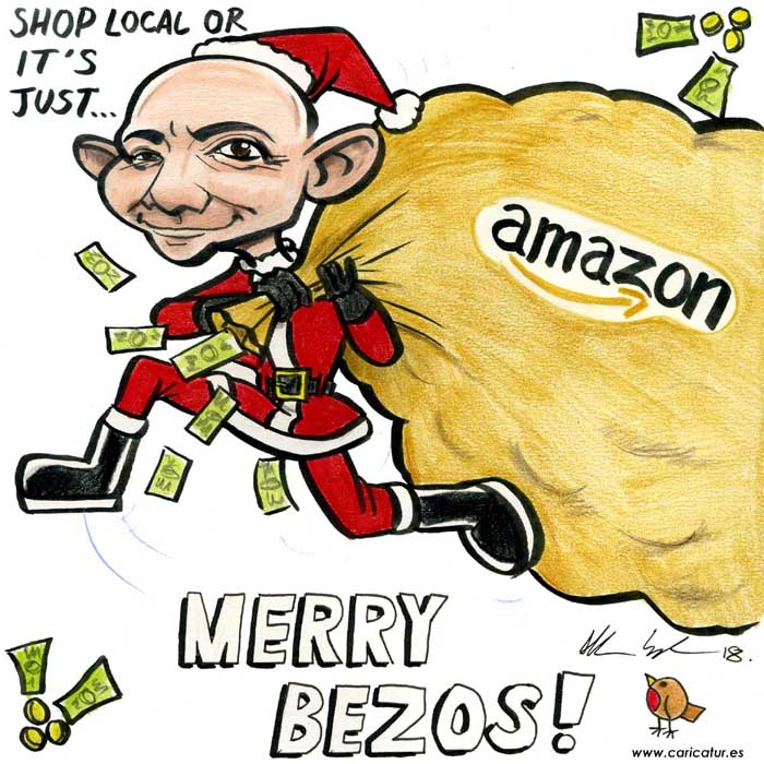 jeff bezos amazon cartoon santa