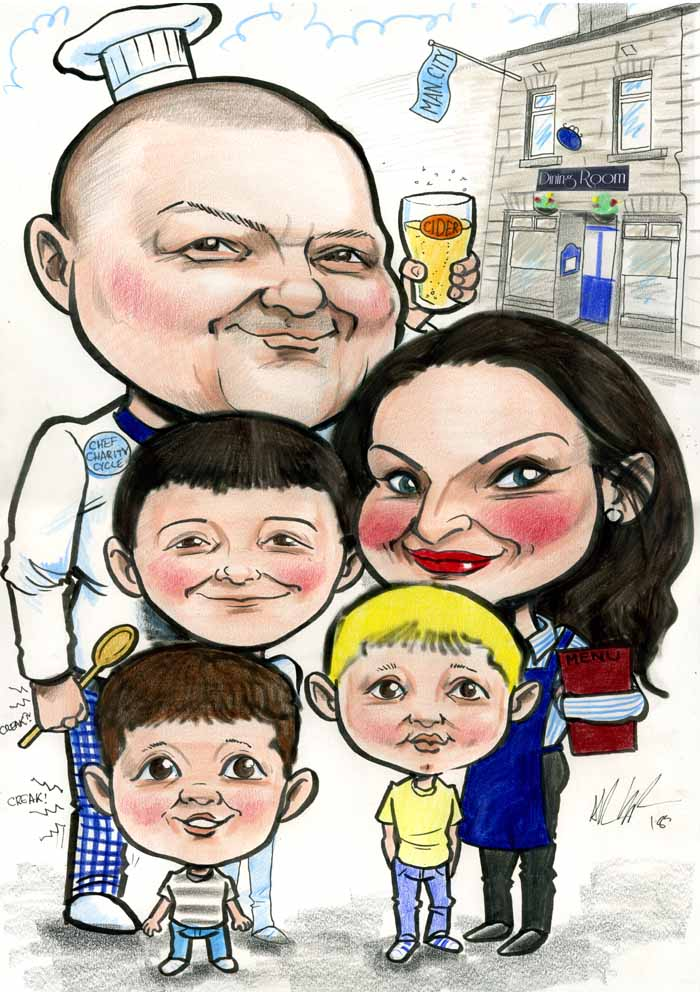 family caricature dining room castlebar