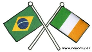 Brazil Ireland Flag Cartoon