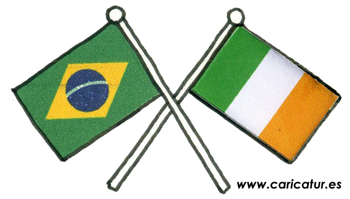 ireland brazil flags cartoon