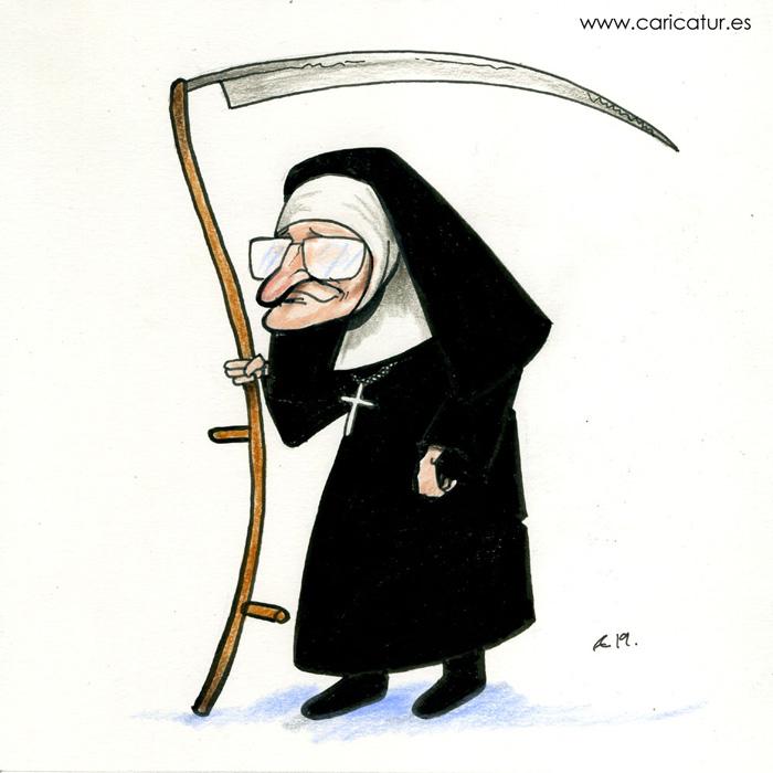 nun with scythe cartoon