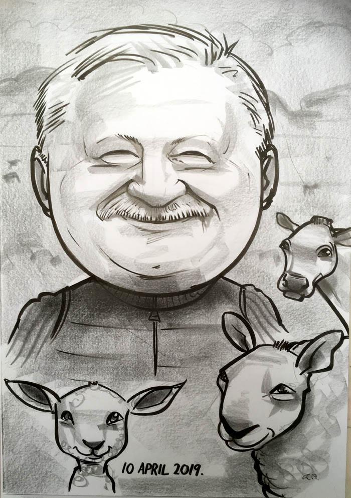 farmer caricature sheep lamb cow