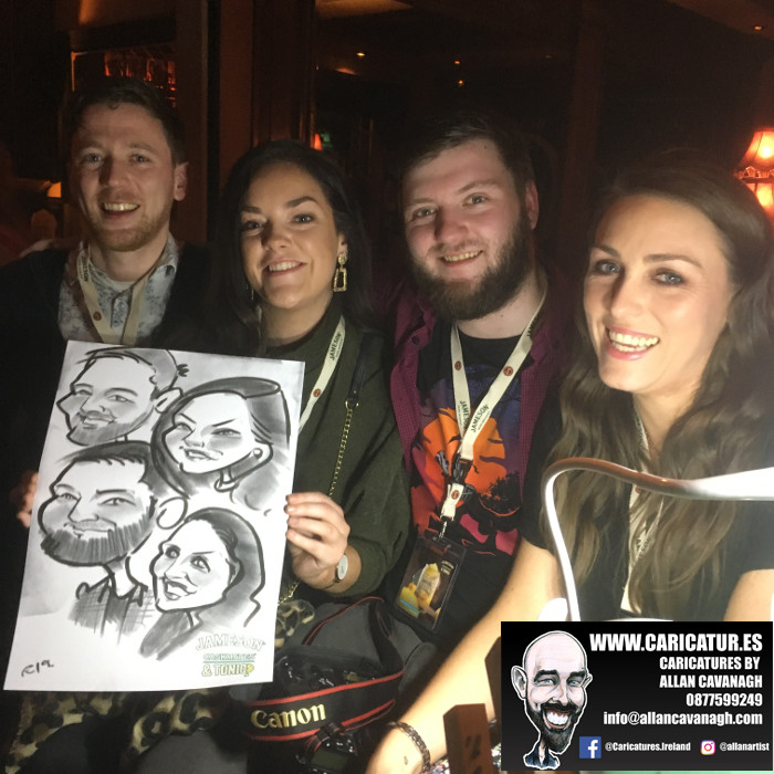 Four people laughing holding caricature Liquor Lounge