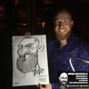 Man with Caricature by Allan Cavanagh