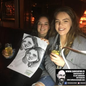 Women with funny drawing Galway