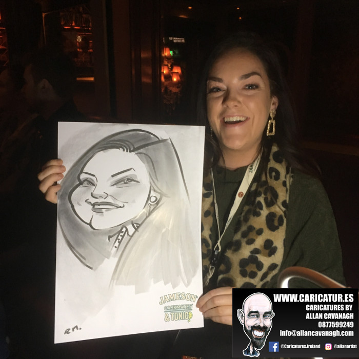 Woman laughing with caricature
