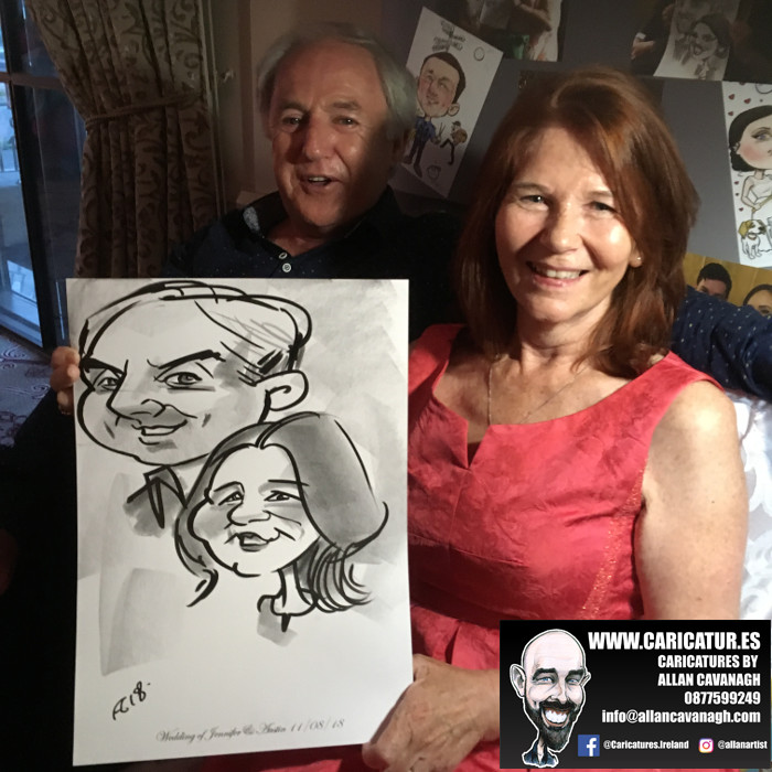 Funny ideas for wedding caricatures by Allan Cavanagh
