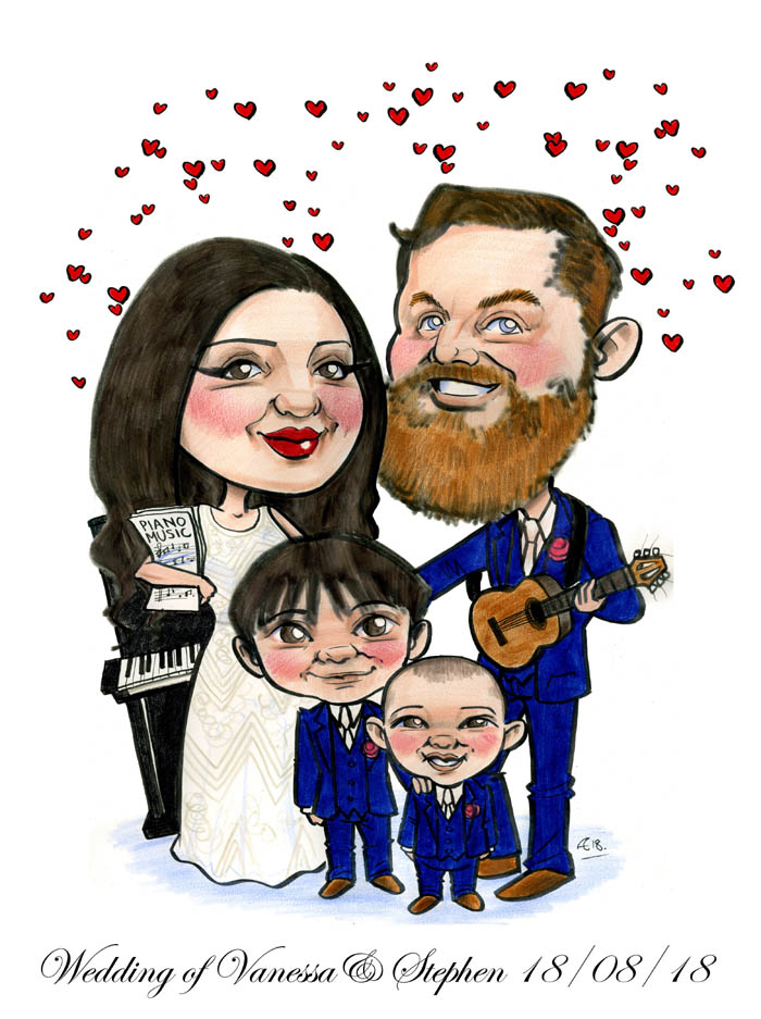 music themed wedding caricature signing board