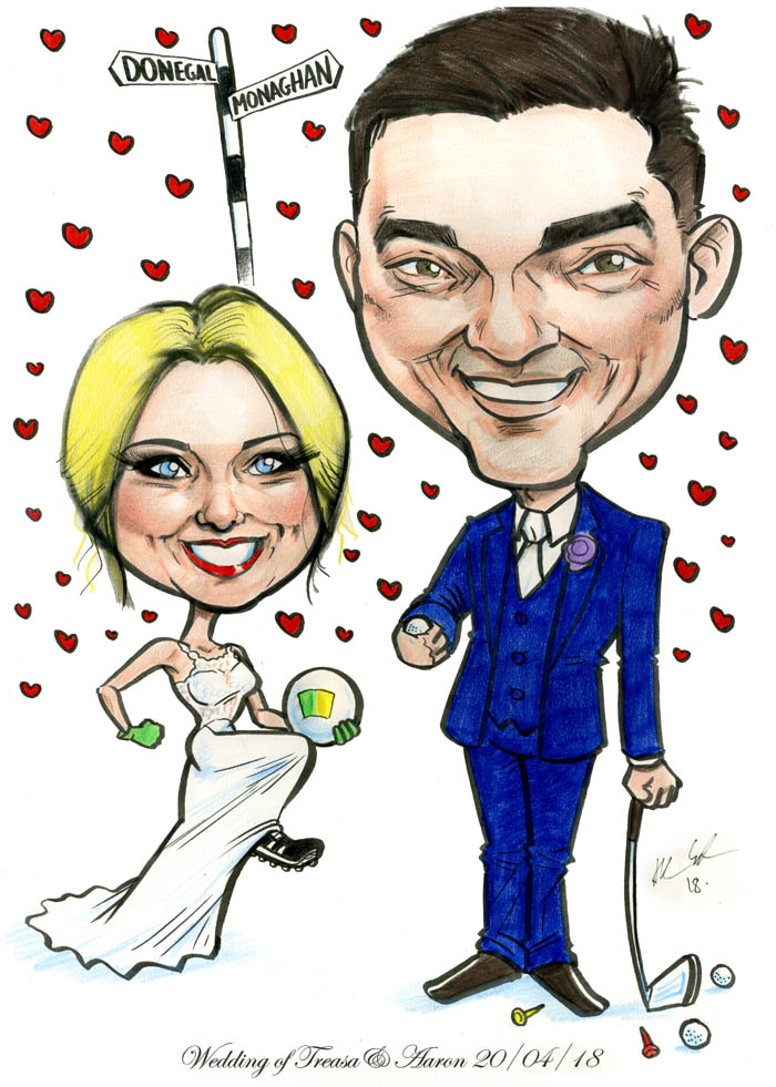 donegal monaghan wedding gaa golf caricature ireland