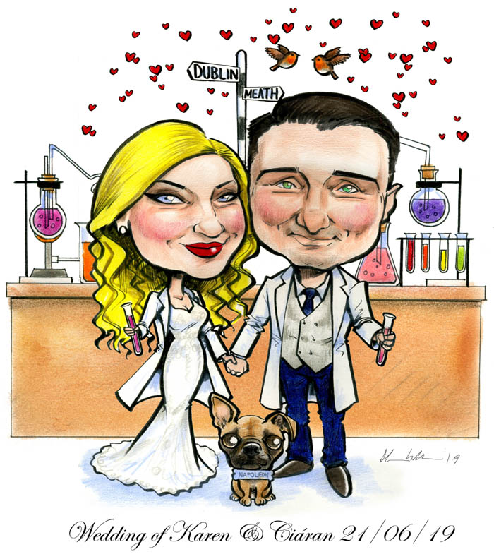 scientist wedding caricature