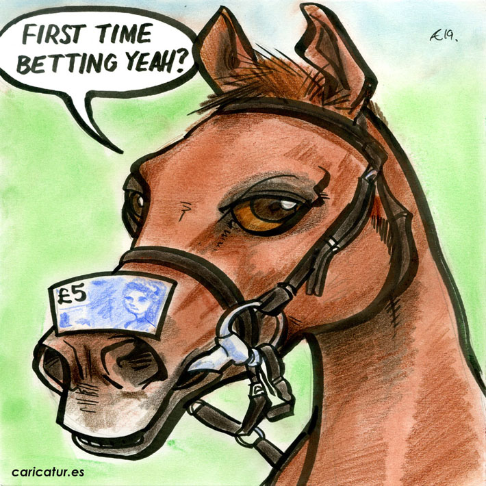 horse racing betting gambling cartoon