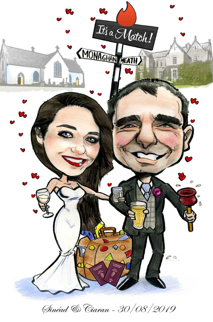 tinder wedding invitation caricature