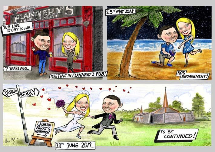 wedding storyboard invitation cartoon strip caricature