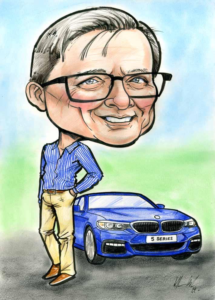 BMW 5 SERIES CARTOON CARICATURE