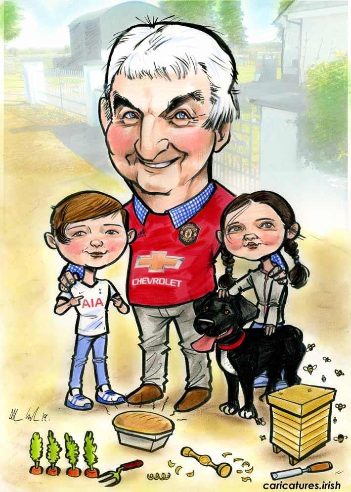 70th birthday present gift for dad ireland caricature