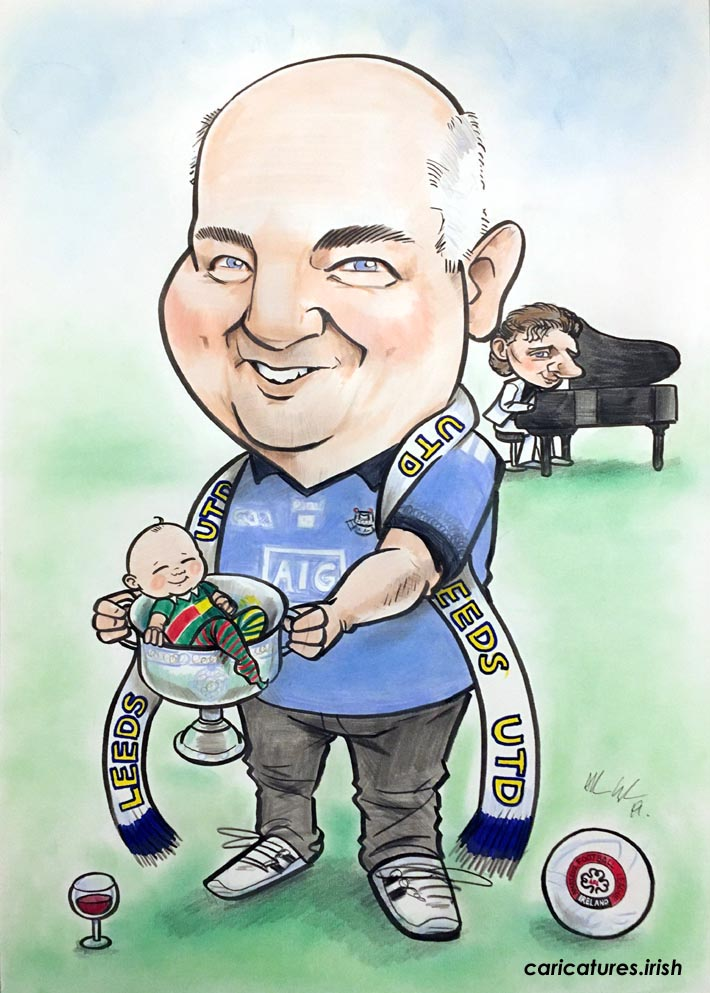 dublin GAA gifts baby inside sam maguire cup leeds utd barry manilow caricature