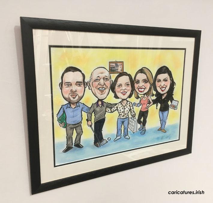 framed family caricature gift allan cavanagh