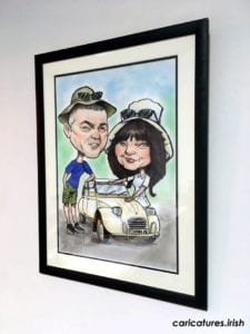 framed gift caricature for parents