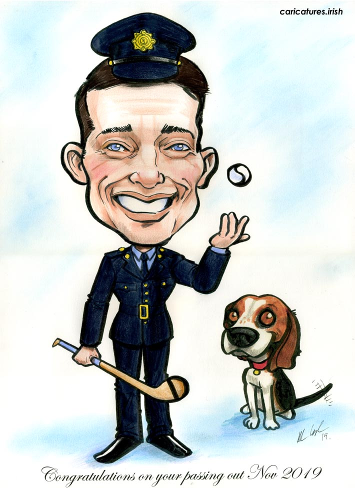 garda passing out ceremony gift present caricature fun beagle hurling GAA