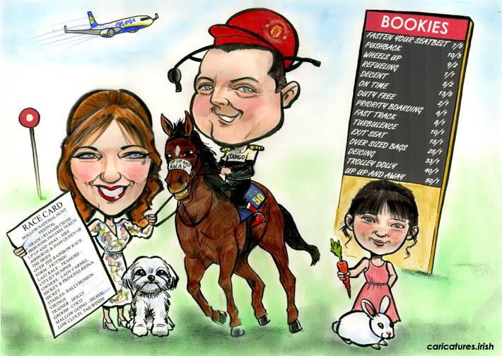 jockey caricature family portrait gift present horse tote bookies
