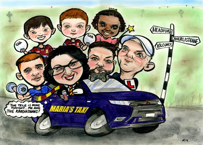 mum taxi caricature kids family portrait fun