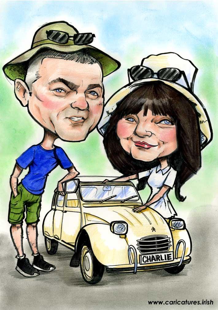 parents gift caricature nissan 2CV
