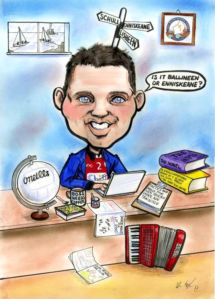 school principal leaving gift caricature accordian