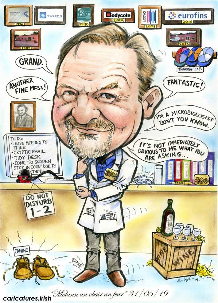 scientist retirement gift caricature ireland