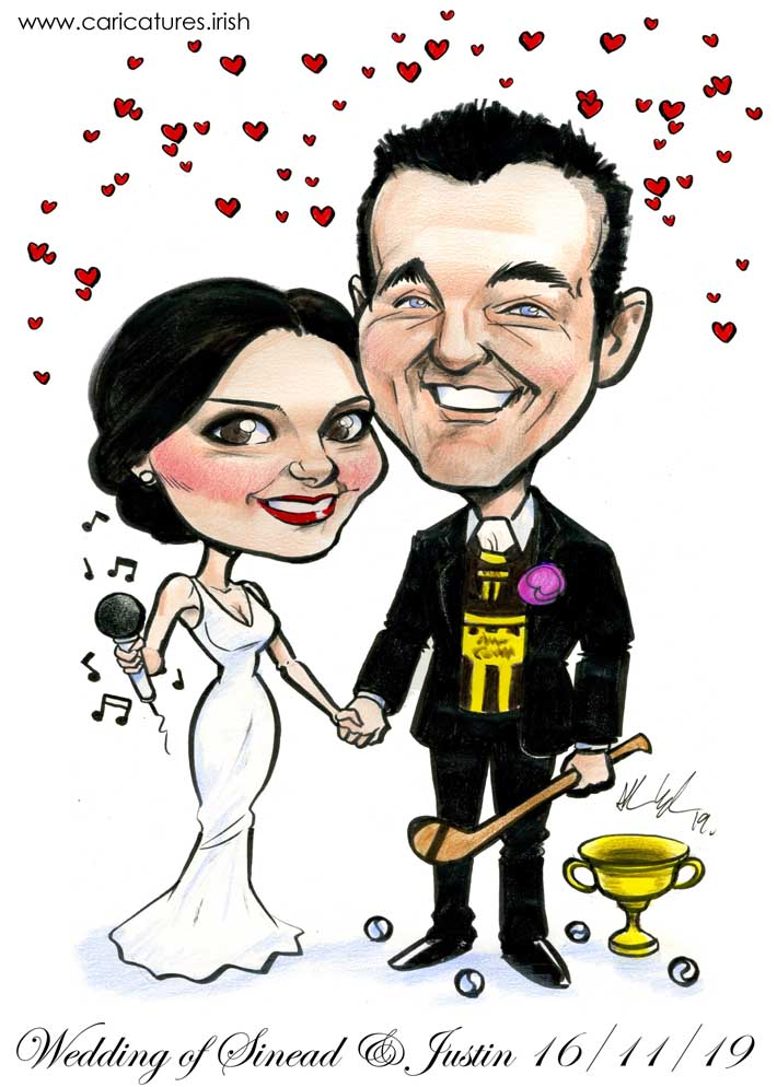 GAA theme wedding signing board caricature ireland