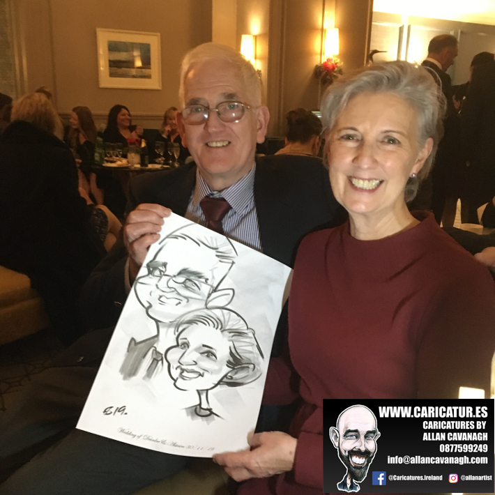 Couple caricature wedding Galway