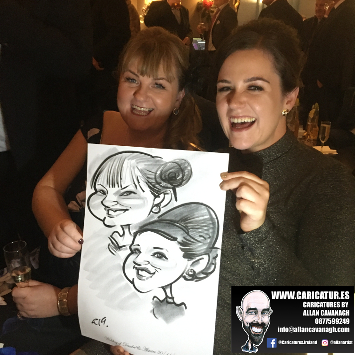 Women laughing with caricature