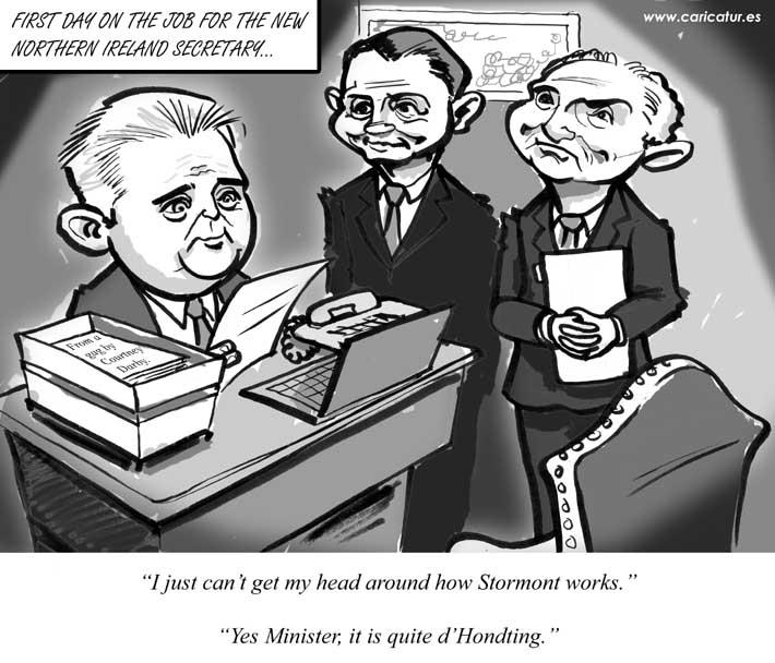 Description: Brandon Lewis Northern Ireland Secretary is seated at his desk looking at papers. Two civil servants stand beside him with amused looks on their faces. Lewis says I just can't get my head around how Stormont works. A civil servant replies Yes Minister, it is quite d'Hondting.