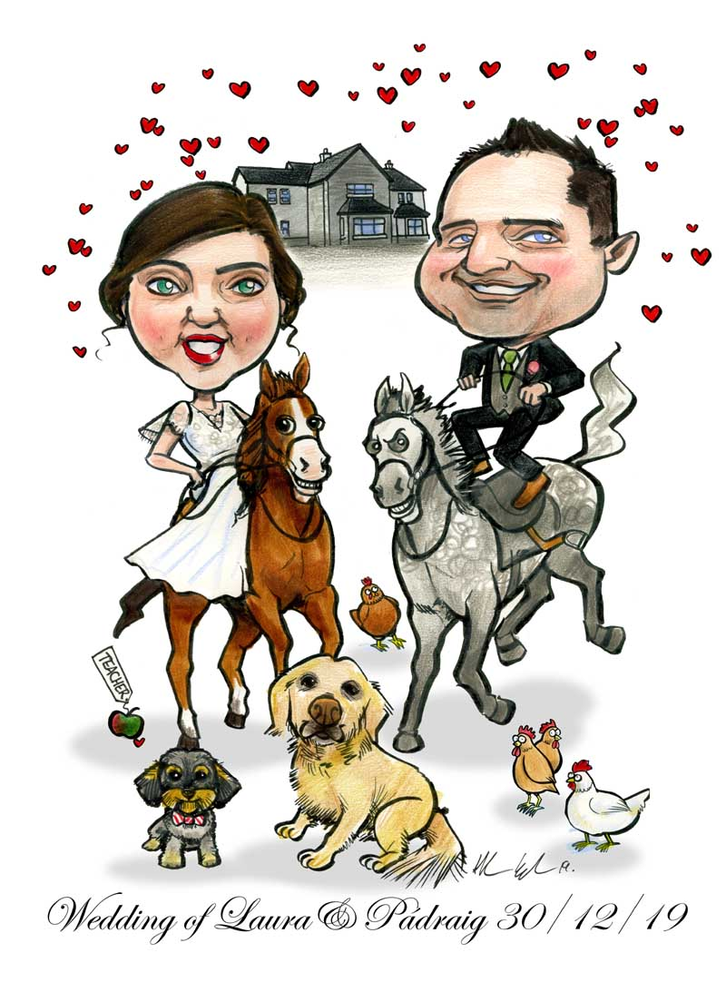 bride groom horseback cartoon horses dogs chickens new house