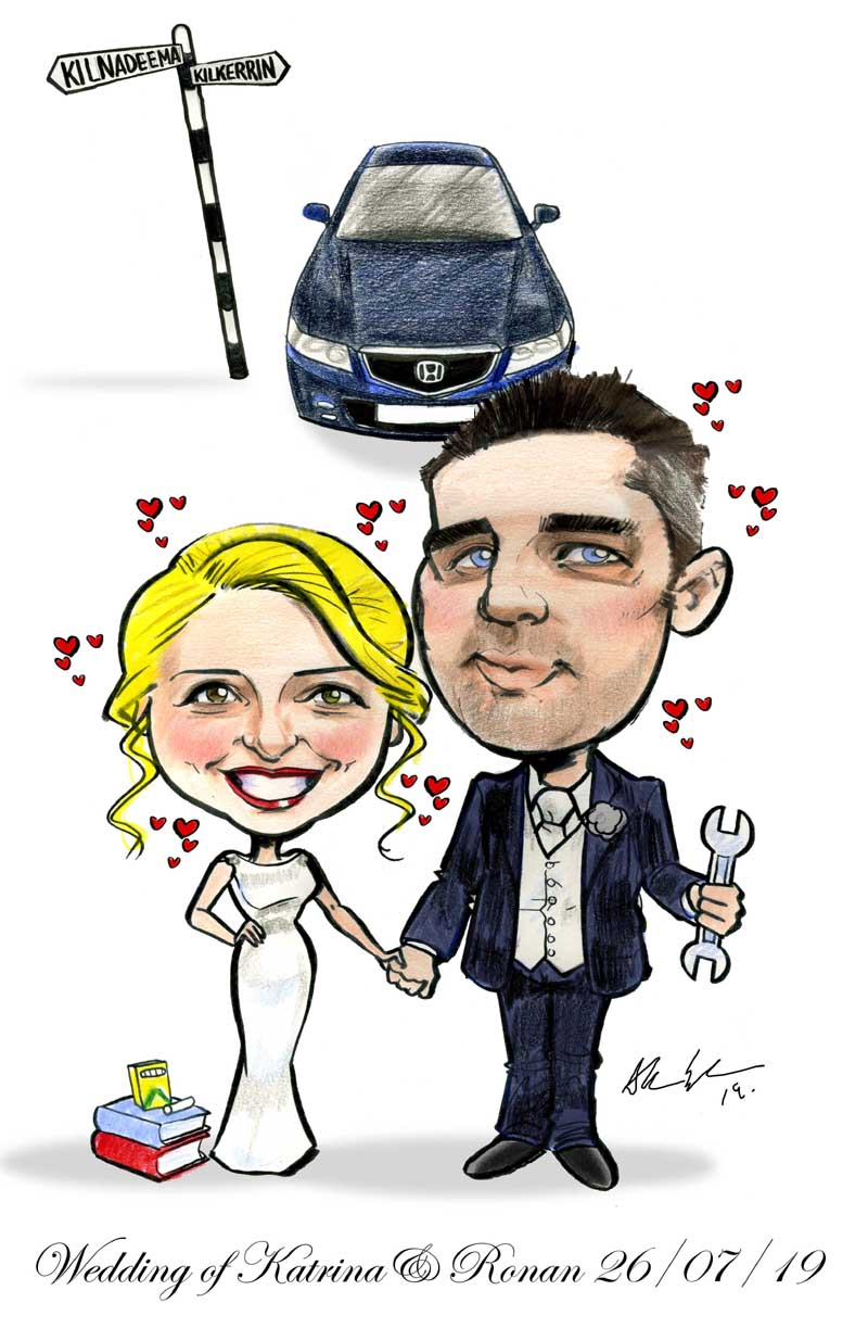 teacher mechanic wedding caricature