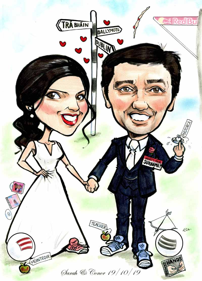 wedding gift caricatures ireland allan cavanagh