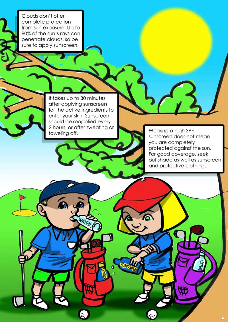 golf sun safety cartoon for kids
