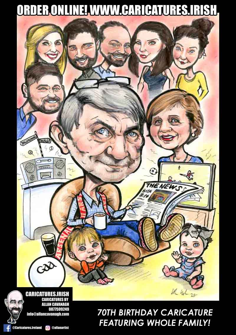 70TH BIRTHDAY CARICATURE GIFT IDEAS ALLAN CAVANAGH CARICATURES