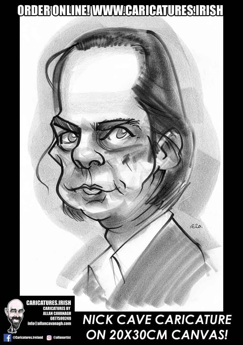 nick cave caricature canvas print