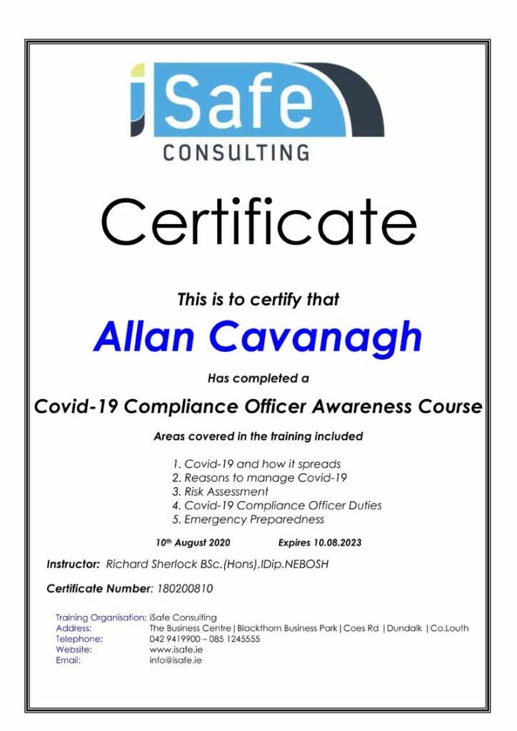 Allan Cavanagh Covid 19 Compliance Officer Awareness Certificate
