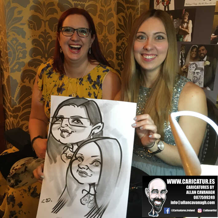 Knightsbrook hotel wedding entertainment live wedding caricature artist allan cavanagh 1