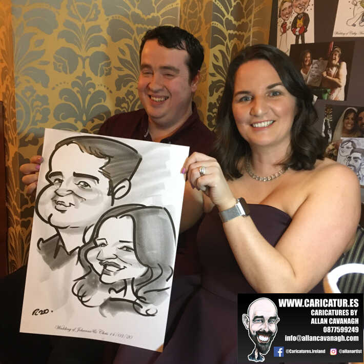 Knightsbrook hotel wedding entertainment live wedding caricature artist allan cavanagh 10