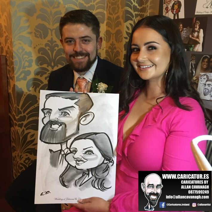 Knightsbrook hotel wedding entertainment live wedding caricature artist allan cavanagh 11