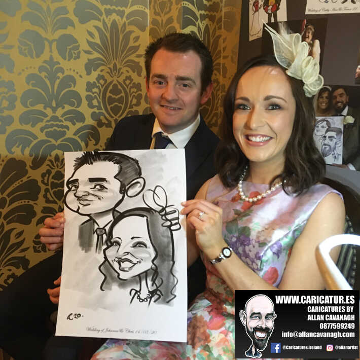 Knightsbrook hotel wedding entertainment live wedding caricature artist allan cavanagh 12