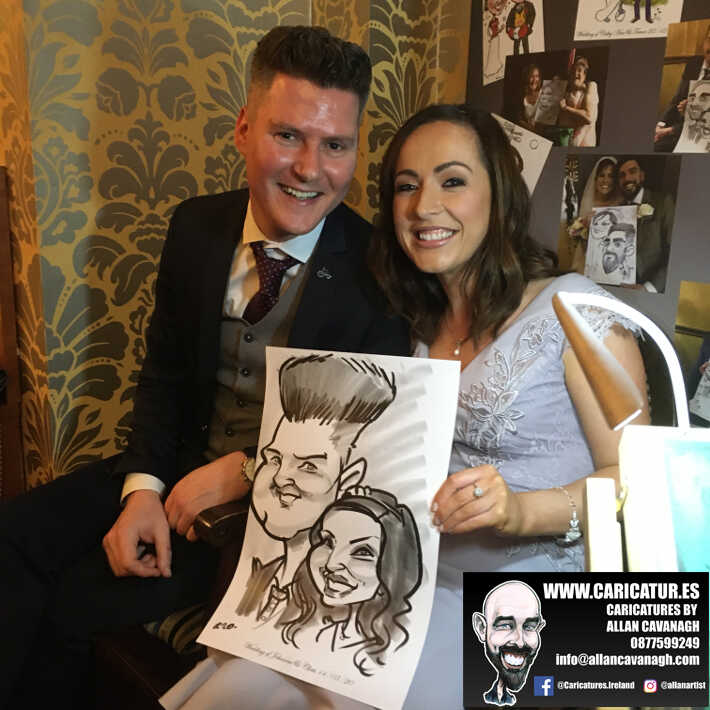 Knightsbrook hotel wedding entertainment live wedding caricature artist allan cavanagh 13